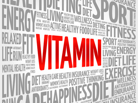 radicals: VITAMIN word cloud background, health concept