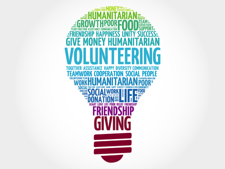together voluntary: Volunteering bulb word cloud collage concept