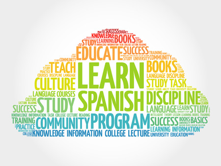 talking dictionary: Learn Spanish word cloud, education business concept