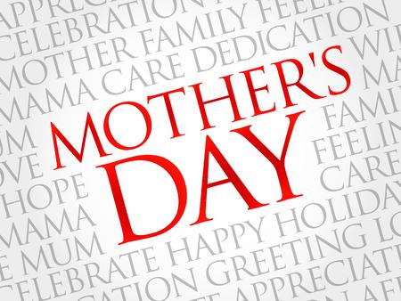 Mothers Day word cloud, care, love, family, motherhood concept Illusztráció
