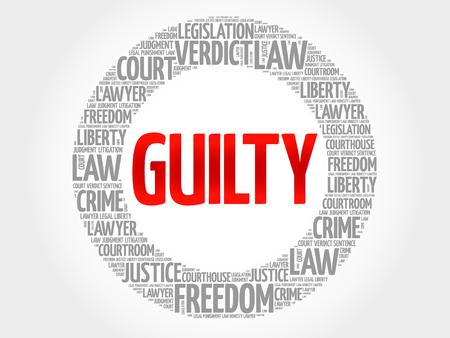 good judgment: Guilty word cloud concept Illustration