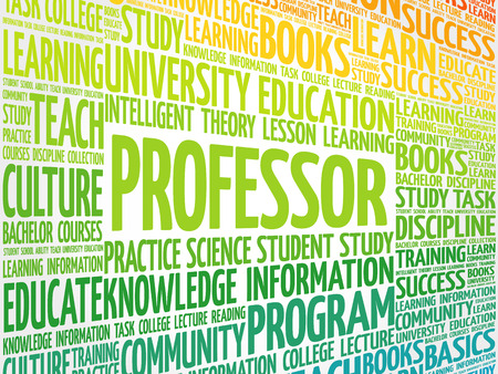 truthfulness: Professor word cloud collage, education concept background