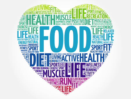 FOOD heart word cloud, fitness, sport, health concept Illustration