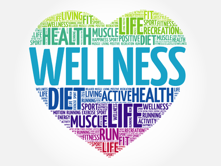 WELLNESS heart word cloud, fitness, sport, health concept