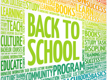 Back to School word cloud collage, education concept background Illustration