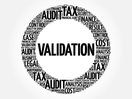 validation: VALIDATION word cloud, business concept Illustration