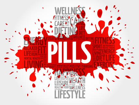 PILLS word cloud, health cross concept background Illustration