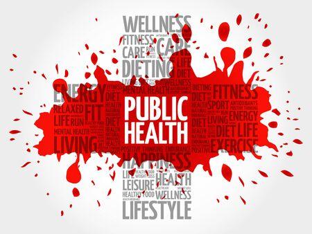 Public Health word cloud, health cross concept background Illustration