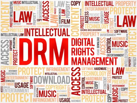 DRM のデジタル権利管理の単語の雲、ビジネス コンセプトの背景