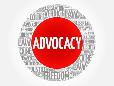 courthouse: Advocacy word cloud, concept Illustration