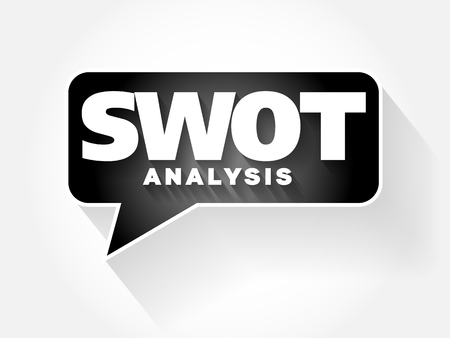 SWOT Analysis text message bubble, flat background concept