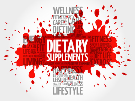 Dietary Supplements word cloud, health cross concept background Illustration