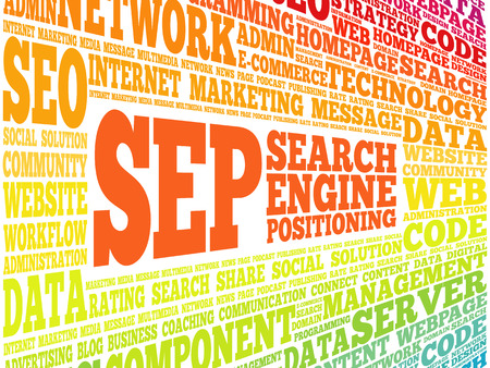SEP (search engine positioning) word cloud business concept Ilustracje wektorowe