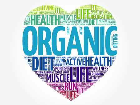 vitamine: ORGANIC heart word cloud, fitness, sport, health concept