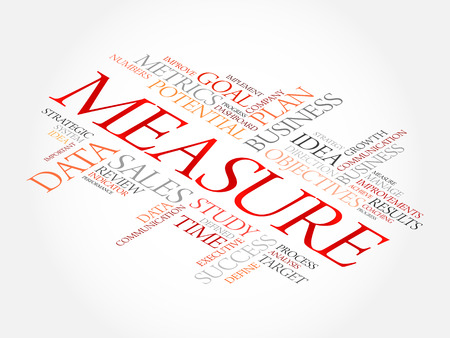 technology collage: Measure word cloud, business concept