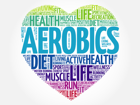 positive energy: Aerobics heart word cloud, fitness, sport, health concept Illustration