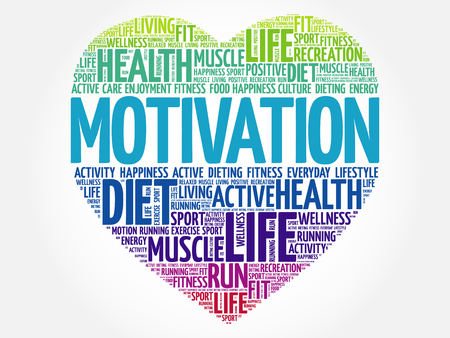 MOTIVATION heart word cloud, fitness, sport, health concept