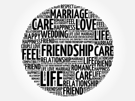 Friendship circle word cloud collage concept Illustration