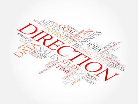 Direction word cloud, business concept Illustration