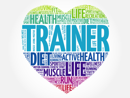 Trainer heart word cloud, fitness, sport, health concept Illustration
