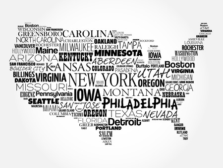 american cities: USA Map word cloud collage with most important cities Illustration
