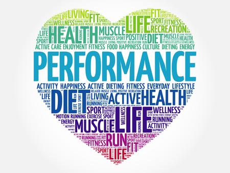 PERFORMANCE Herz Wort Wolke, Fitness, Sport, Gesundheit Konzept Standard-Bild - 70455918