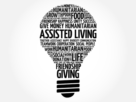 assisted: Assisted Living bulb word cloud collage concept Illustration