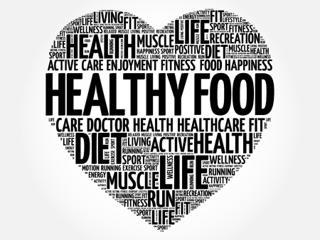 Healthy Food heart word cloud, fitness, sport, health concept Illustration