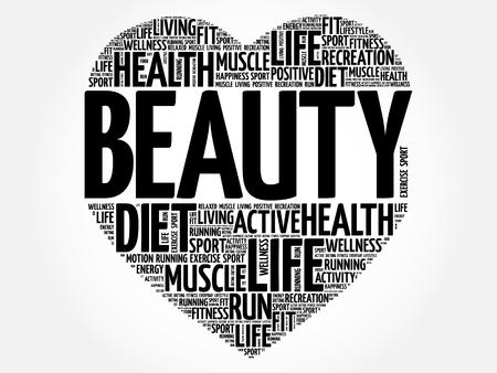 BEAUTY heart word cloud, fitness, sport, health concept