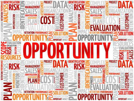 business opportunity: Opportunity and success word cloud, business concept Illustration