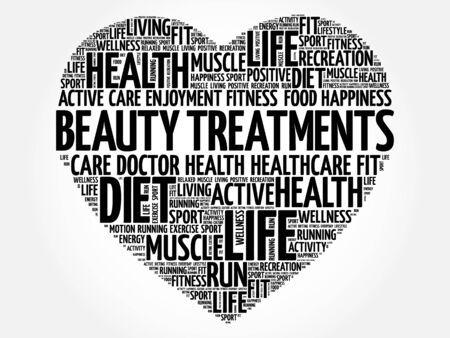 spa collage: Beauty Treatments heart word cloud, fitness, sport, health concept Illustration