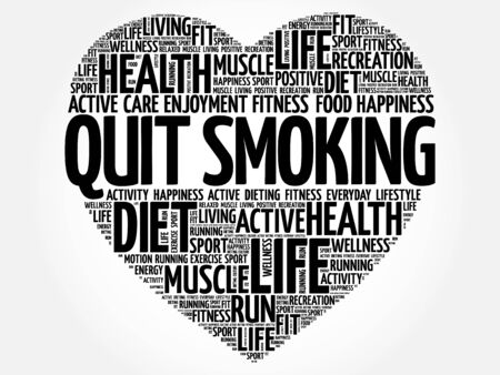 quit: Quit Smoking heart word cloud, fitness, sport, health concept