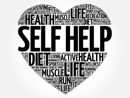 Self Help heart word cloud, fitness, sport, health concept Illustration