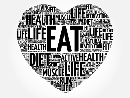 vitamine: EAT heart word cloud, fitness, sport, health concept