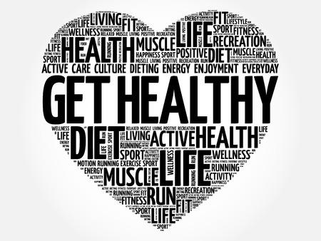 Ottenere cuore sano word cloud, fitness, sport, concetto di salute