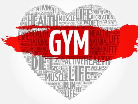consonance: GYM heart word cloud, fitness, sport, health concept Illustration