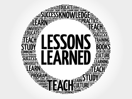 Lessons Learned word cloud, education concept 일러스트