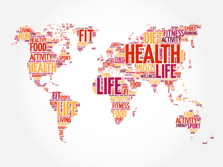 Health and Life World Map in Typography, sport, health, fitness word cloud concept Illustration