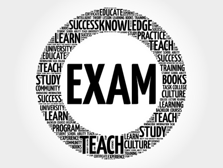 ability to speak: EXAM Word cloud education collage Illustration
