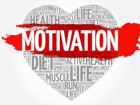 MOTIVATION heart word cloud, fitness, sport, health concept