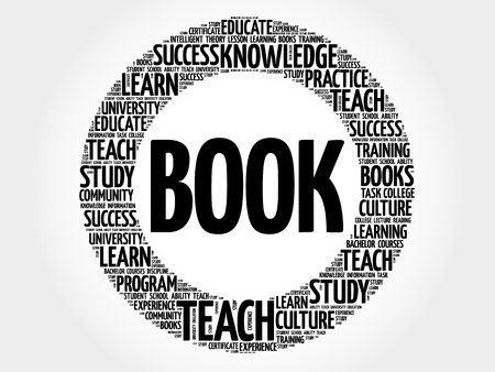 extramural: BOOK. Word cloud education collage Illustration
