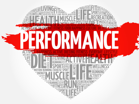 performed: PERFORMANCE heart word cloud, fitness, sport, health concept