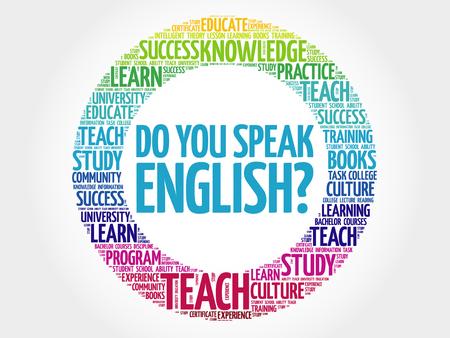 당신은 영어를합니까? 단어 구름, 교육 비즈니스 개념