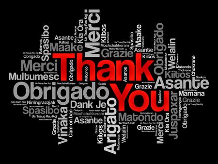 Dziękuję Word Cloud wektora tle, wszystkie języki Ilustracje wektorowe