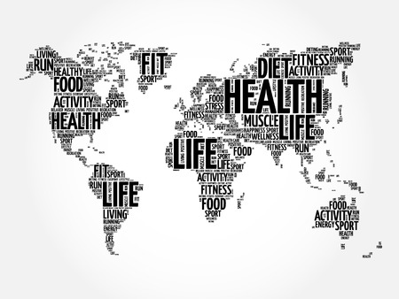 autocuidado: Health and Life World Map in Typography, sport, health, fitness word cloud concept Vectores