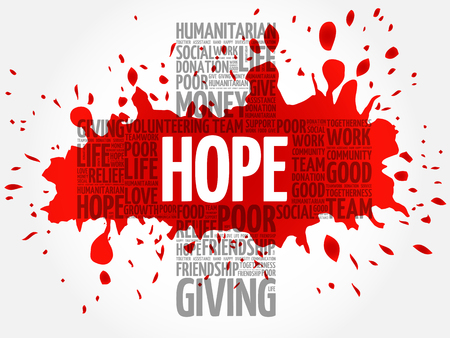 HOPE word cloud collage, cross concept
