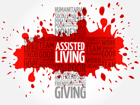 assisted: Assisted Living word cloud collage, cross concept