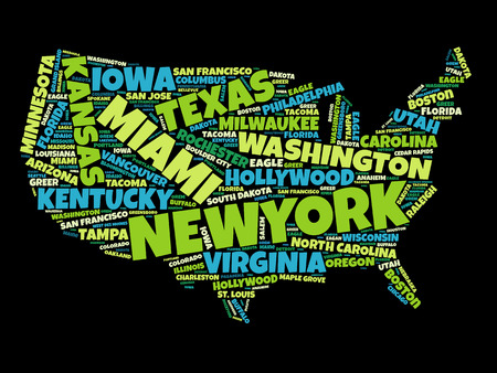 american cities: USA Map word cloud with most important cities