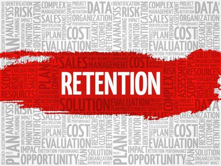 retention: Retention word cloud, business concept Illustration