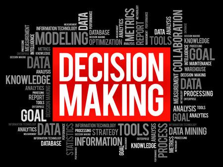 Prise de décisions en nuage de mots, concept d'entreprise